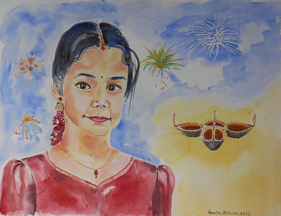 India Painting - Happy Diwali  by Geeta Biswas