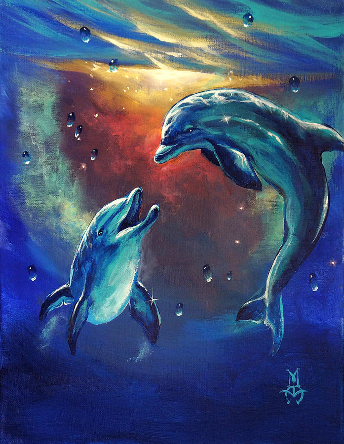 Happy Dolphins Painting By Marco Antonio Aguilar