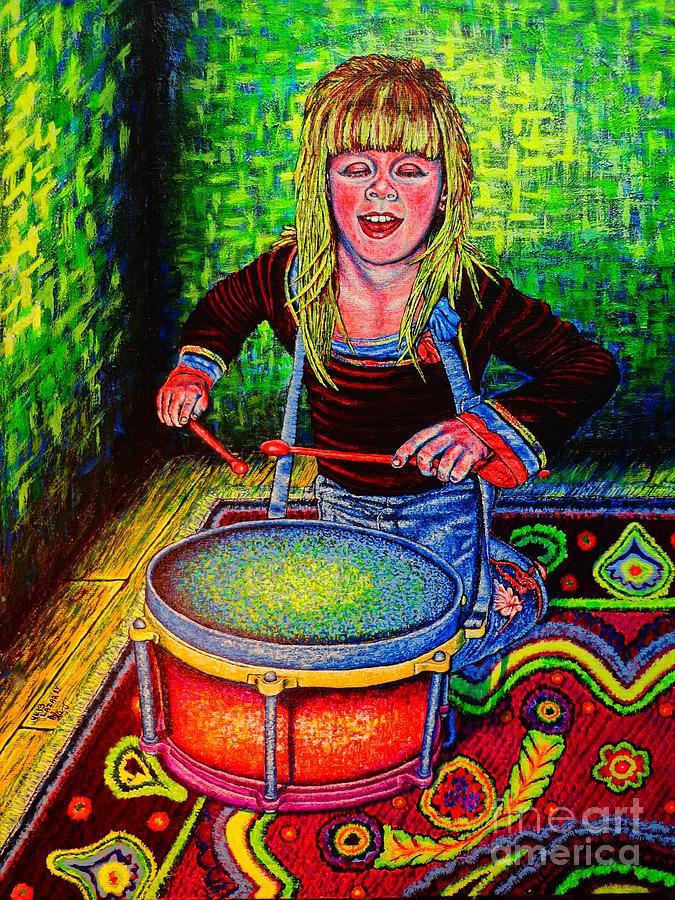Figurative Painting - Happy Drummer by Viktor Lazarev