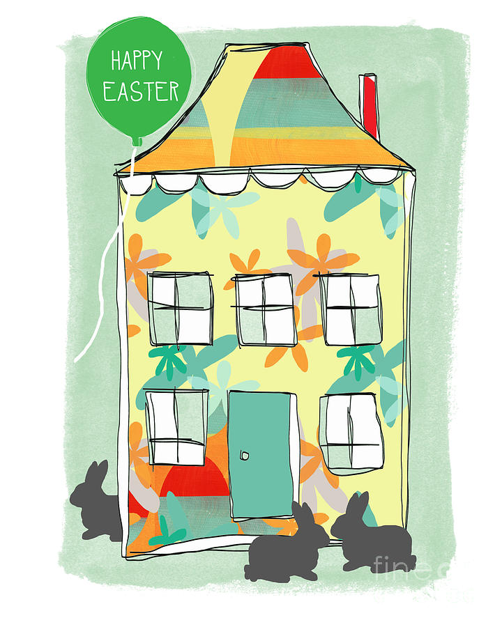 Easter Painting - Happy Easter Card by Linda Woods