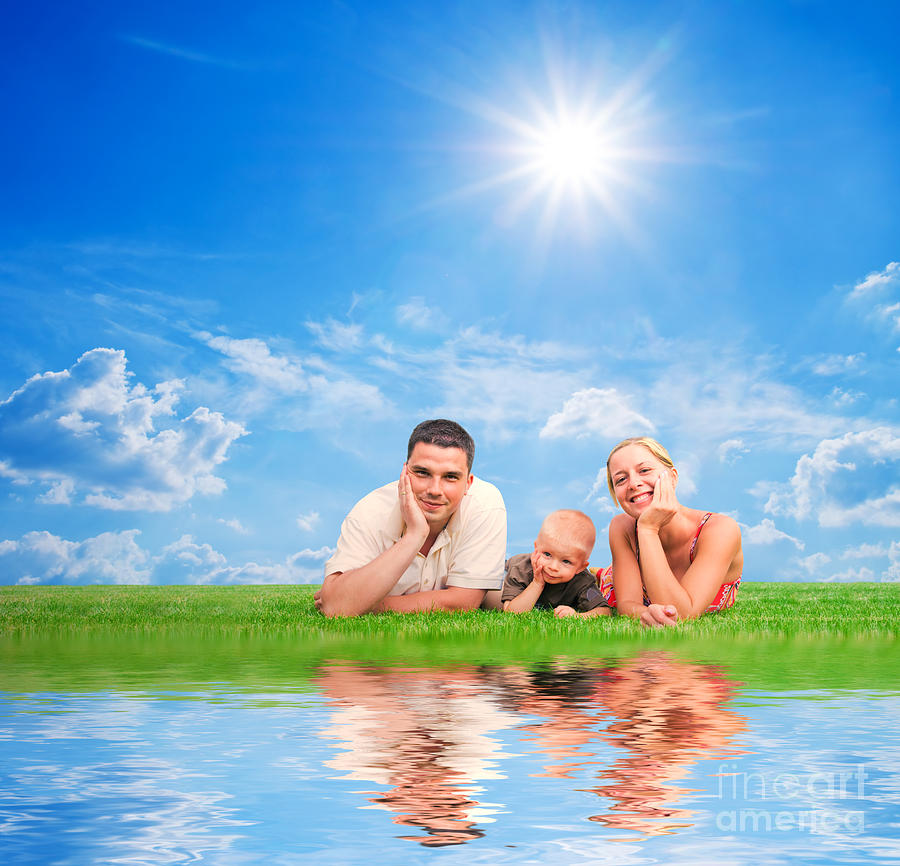 Family Photograph - Happy Family Together On Grass by Michal Bednarek