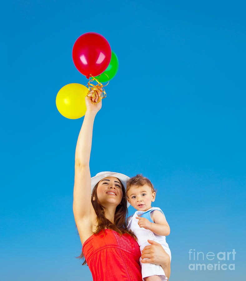 Activity Photograph - Happy Family With Air Balloons by Anna Om