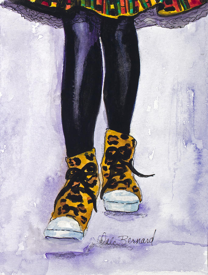 Leopard Shoes Painting - Happy Feet No. 2 by Dale Bernard