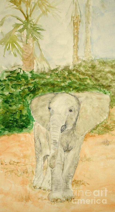 Elephant Painting - Happy Fellow by Katie Spicuzza