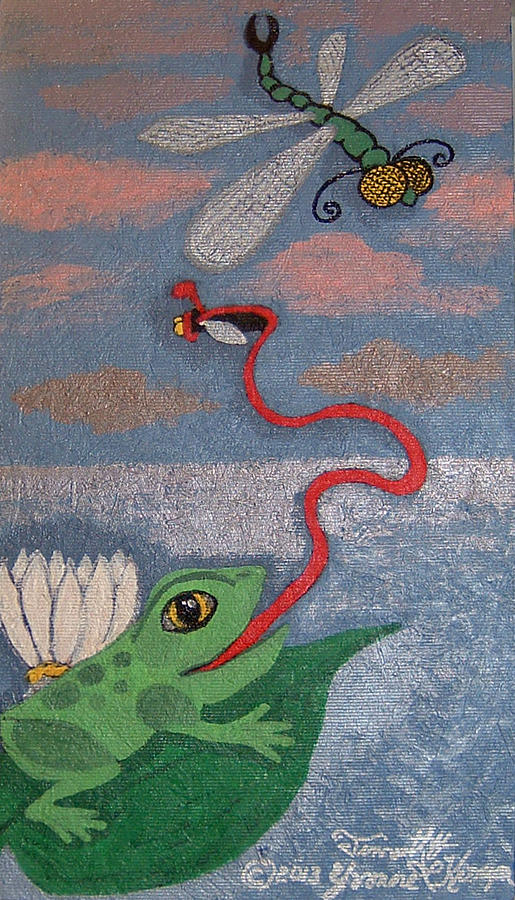 Frog Painting - Happy Frog by Yvonne  Kroupa