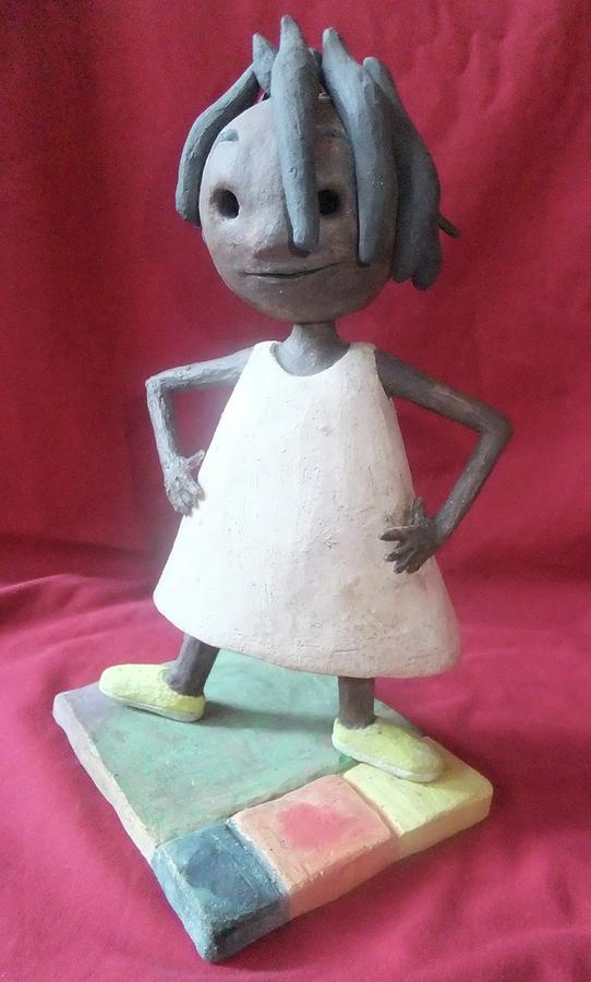 African American Sculpture - Happy Girl by Ann Meany