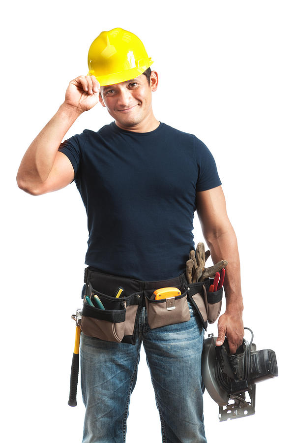 Happy Greeting Hispanic Construction Worker Handyman on White Background Photograph by YinYang
