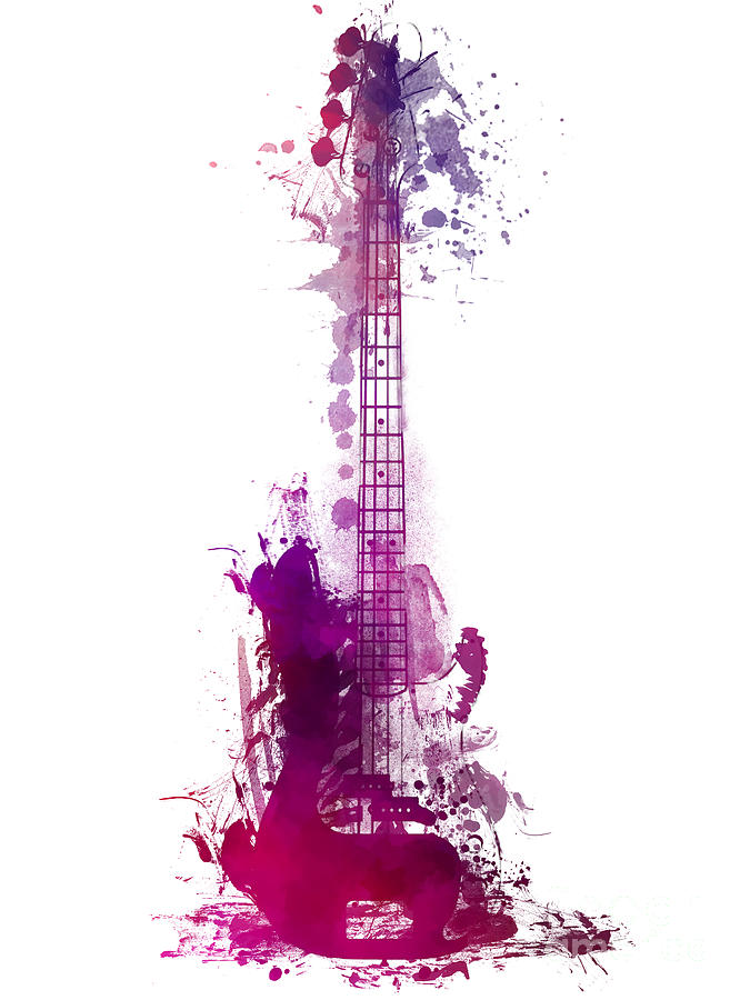 Guitar Digital Art - Happy Guitar Instrument by Justyna Jaszke JBJart
