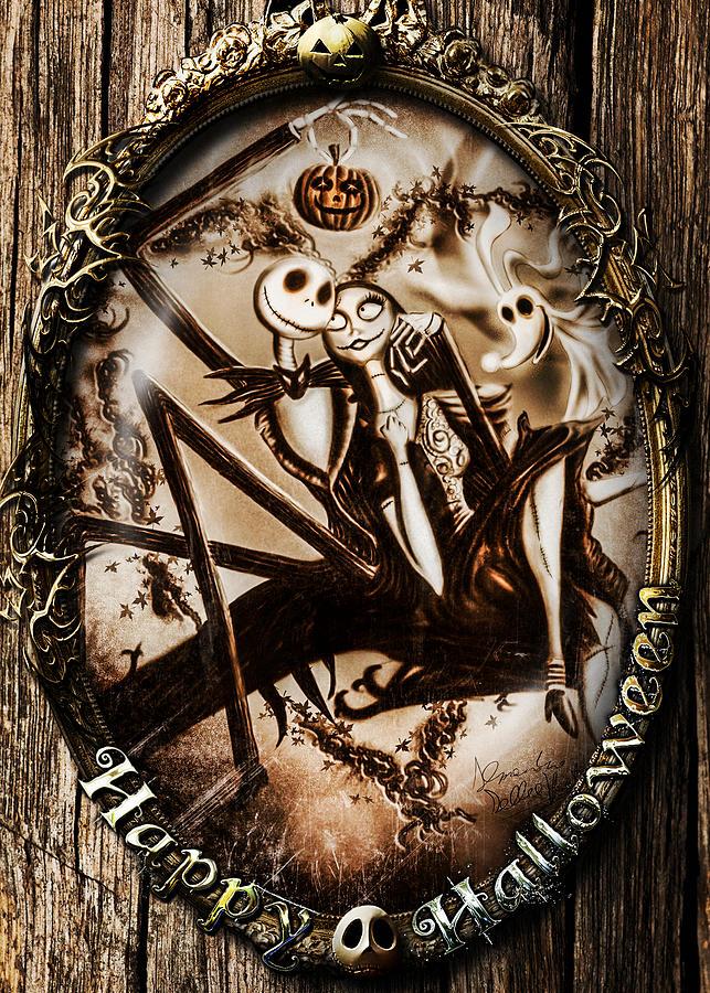Halloween Digital Art - Happy Halloween IIi Sepia Version by Alessandro Della Pietra