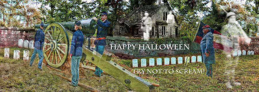 Ghosts Photograph - Happy Halloween-try Not To Scream by EricaMaxine  Price