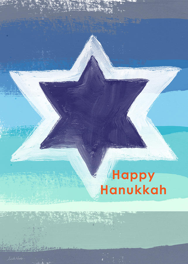 Chanukah Card Painting - Happy Hanukkah Card by Linda Woods