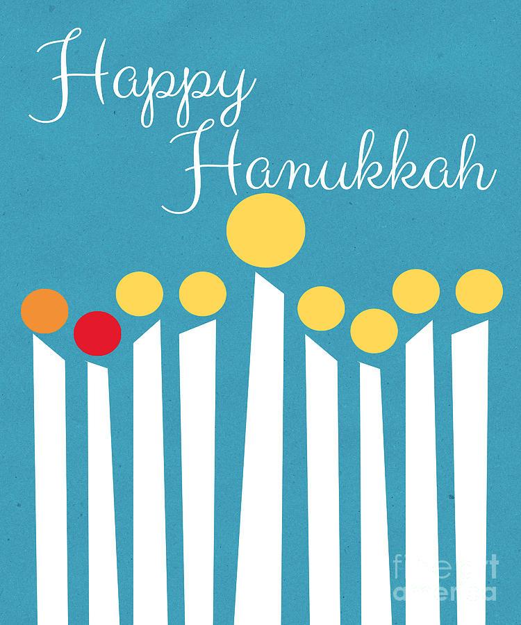 Happy Hanukkah Menorah Card Mixed Media