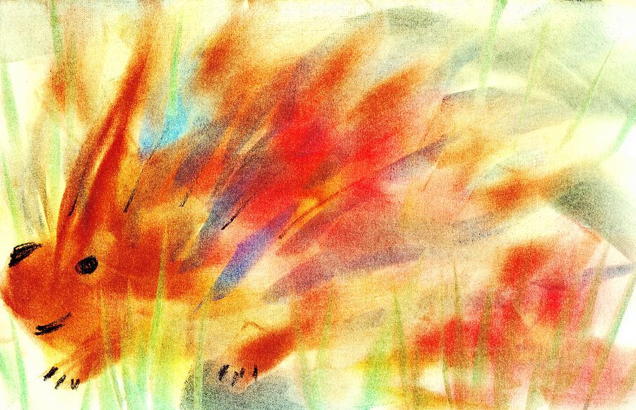 Hide Painting - Happy Hedgehog by Anastasiya Malakhova