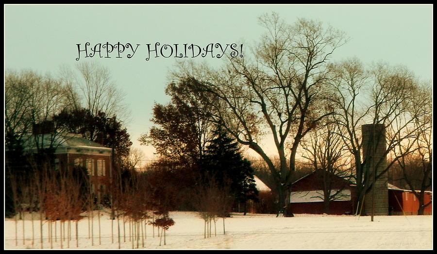 Happy Holiday Card Farm Scene by Kathy Barney