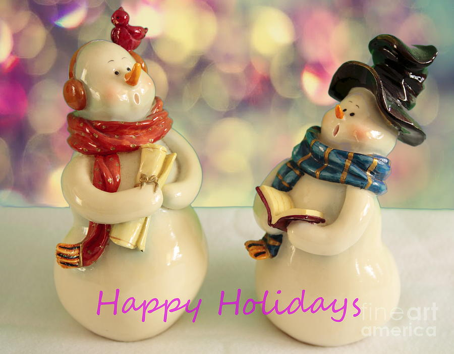 Card Photograph - Happy Holiday Snowmen by Linda C Johnson