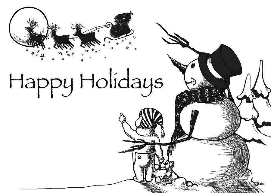 Santa Digital Art - Happy Holidays by Konni Jensen