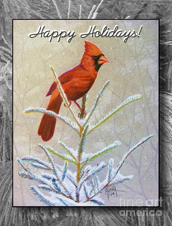 Christmas Card Drawing - Happy Holidays by Marilyn Smith