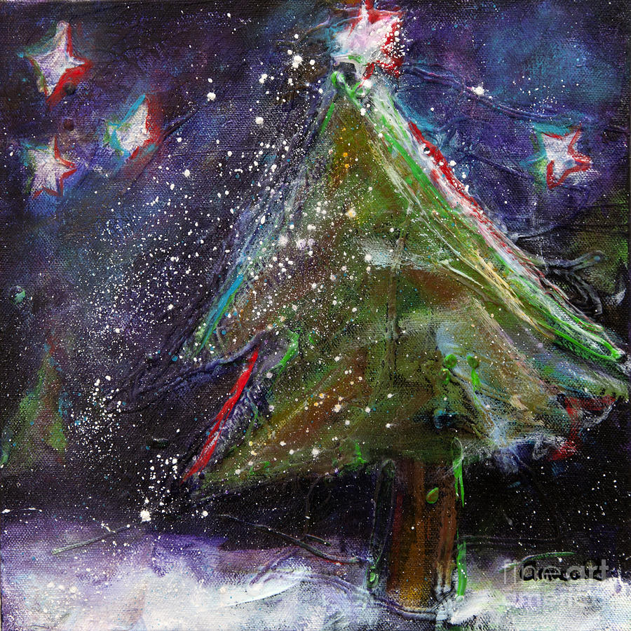 Happy Holidays Painting - Happy Holidays Red And Blue Wishing Stars by Johane Amirault