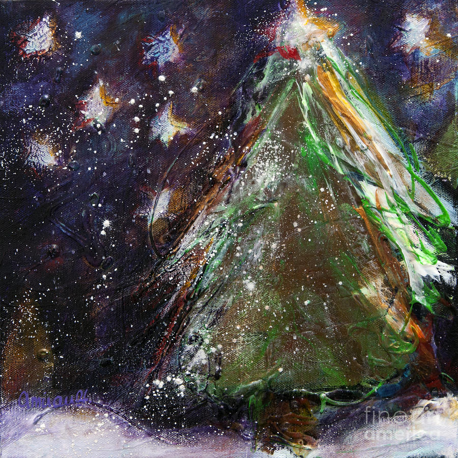 Happy Holidays Painting - Happy Holidays Red And Gold Wishing Stars by Johane Amirault