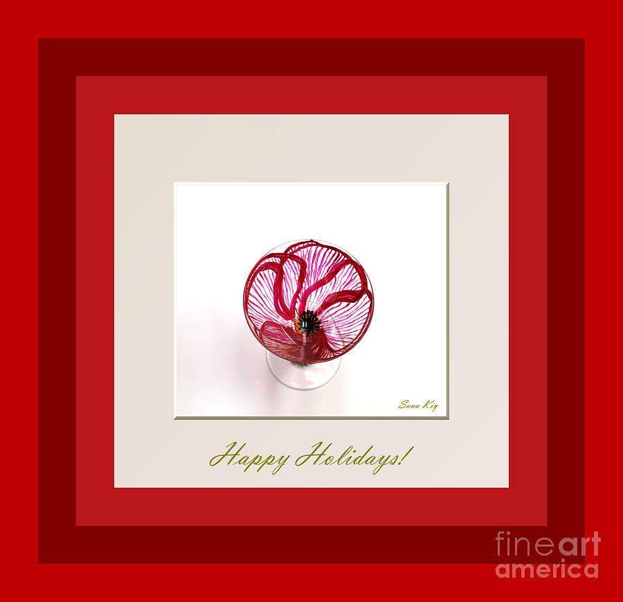 Poppy Glass Art - Happy Holidays. Red Poppy by Oksana Semenchenko