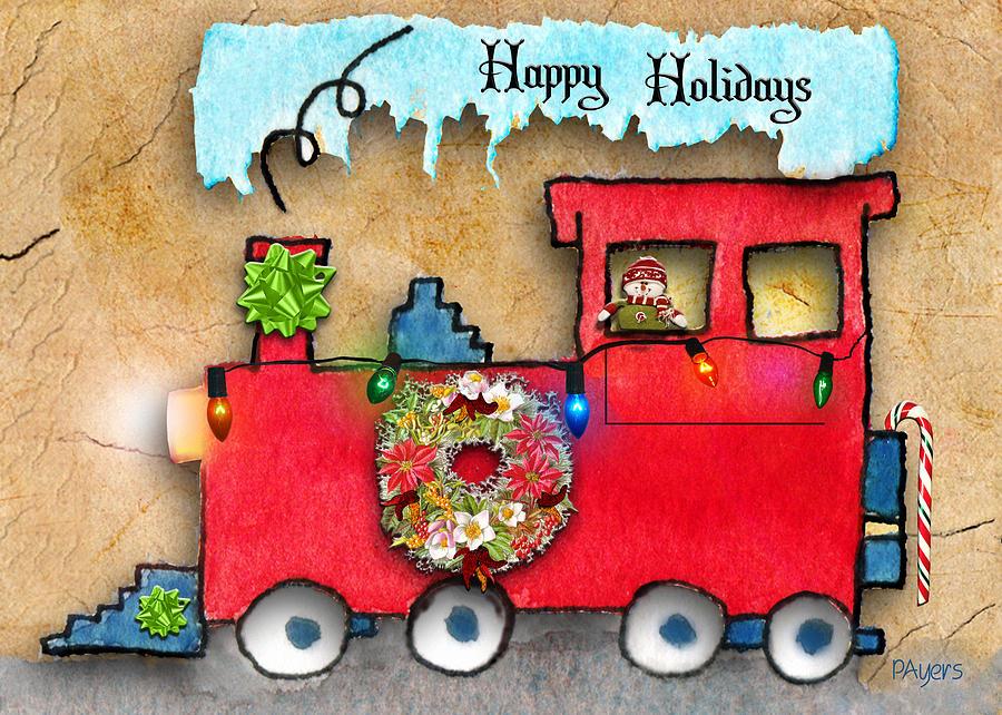 Holiday Painting - Happy Holidays Train by Paula Ayers