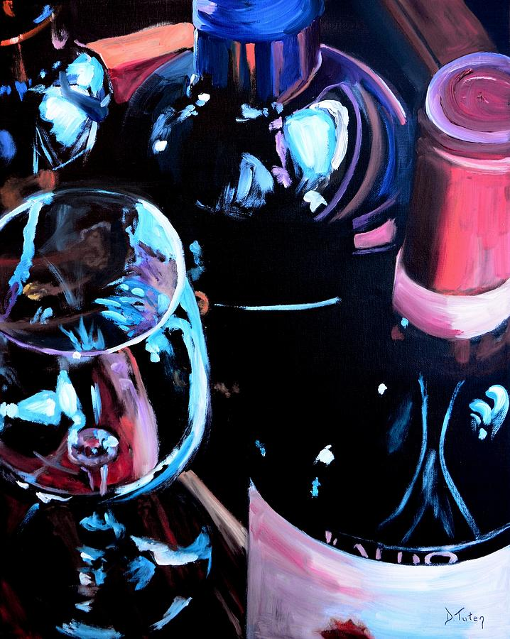 Wine Painting - Happy Hour by Donna Tuten