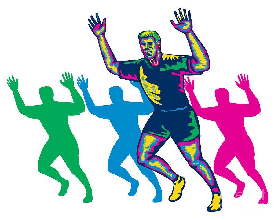 Marathon Digital Art - Happy Marathon Runner Running Retro by Aloysius Patrimonio