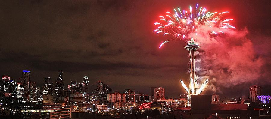 Seattle Photograph - Happy New Year Seattle by Benjamin Yeager