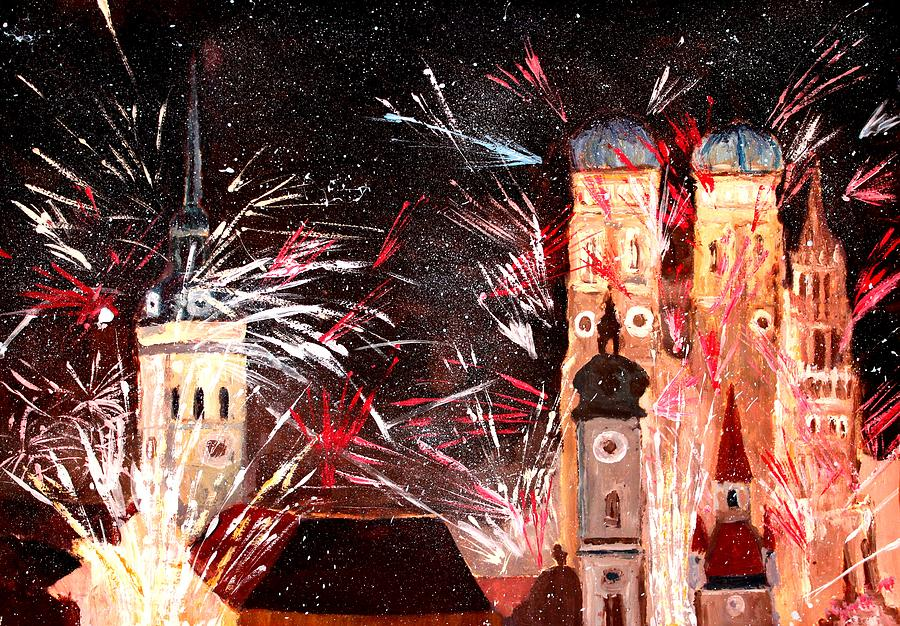 Munich Painting - Happy New Year - With Fireworks In Munich by M Bleichner