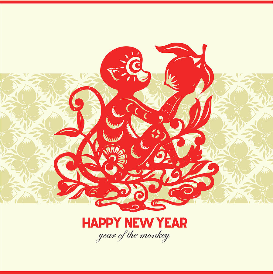 Happy New Year, Year Of The Monkey 2016 Digital Art by Ly86