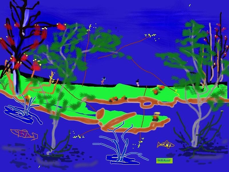Digital Painting Digital Art - Happy Peninsula Digital Painting by Colette Dumont