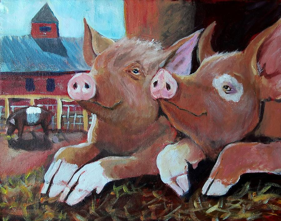 Pigs Painting - Happy Pigs by Dona Davis