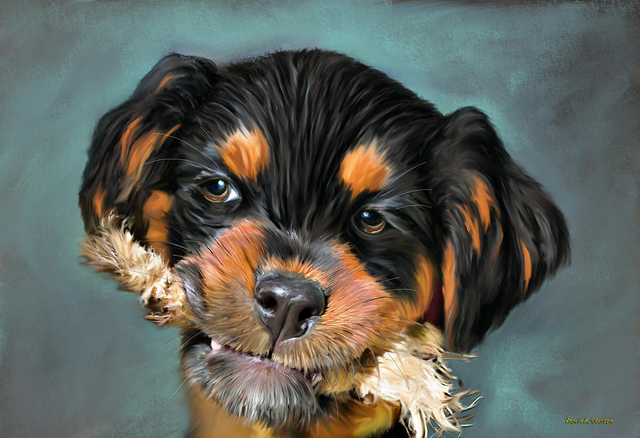 Rottweiler Painting - Happy Puppy by Angela A Stanton