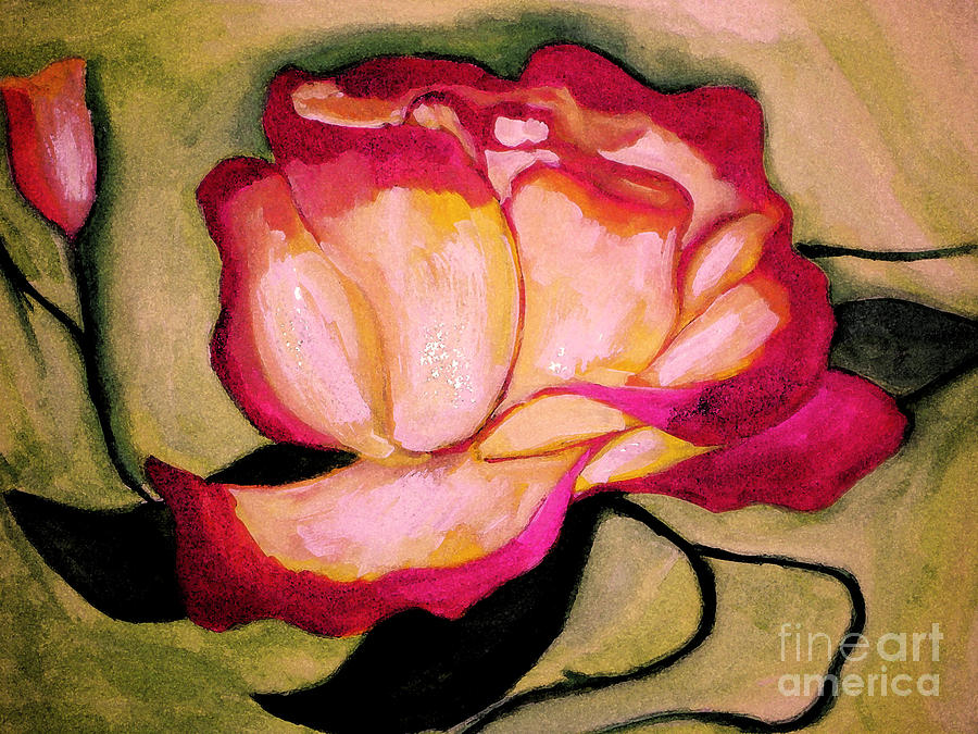 Floral Painting - Happy Red Rose by Sidney Holmes