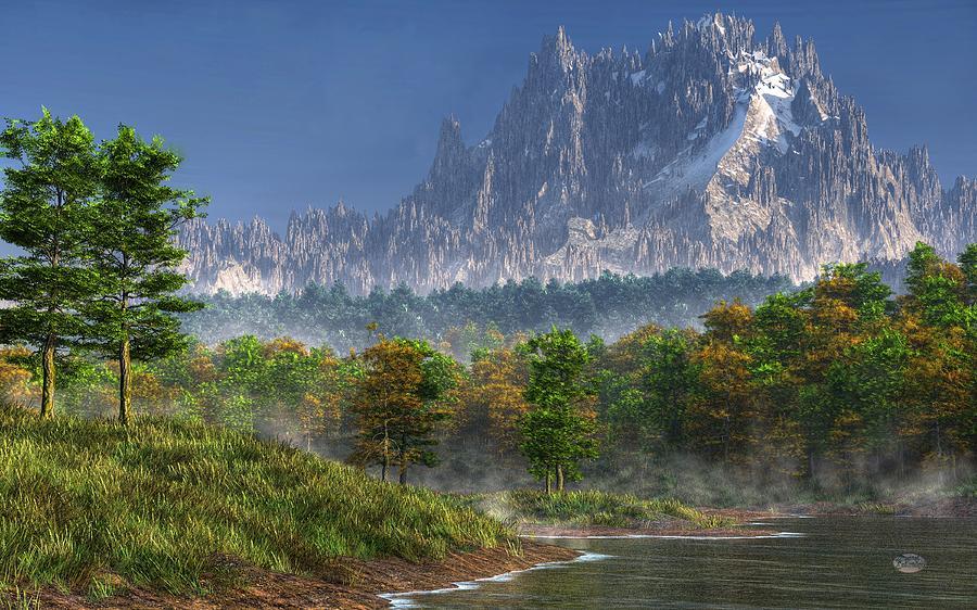 Landscape Digital Art - Happy River Valley by Daniel Eskridge
