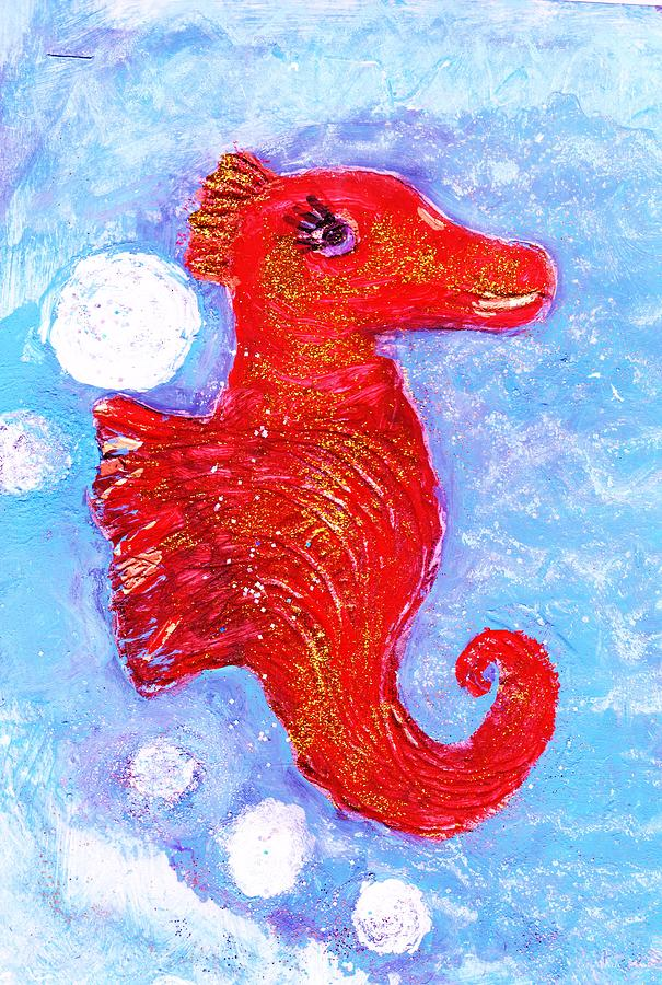 Happy Mixed Media - Happy Seahorse 2 by Anne-Elizabeth Whiteway