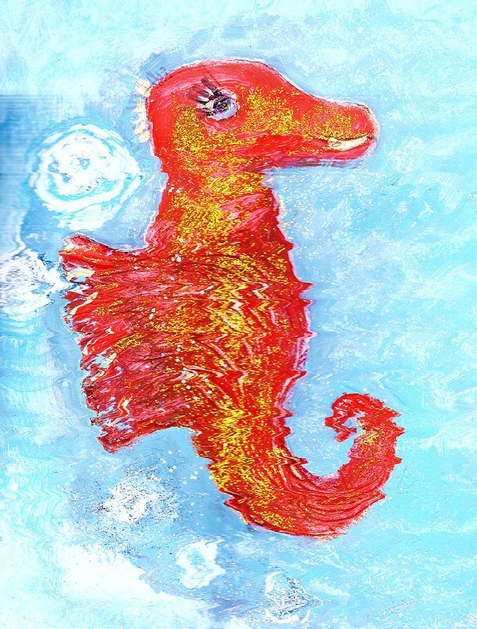 Happy Mixed Media - Happy Seahorse Work In Progress by Anne-Elizabeth Whiteway