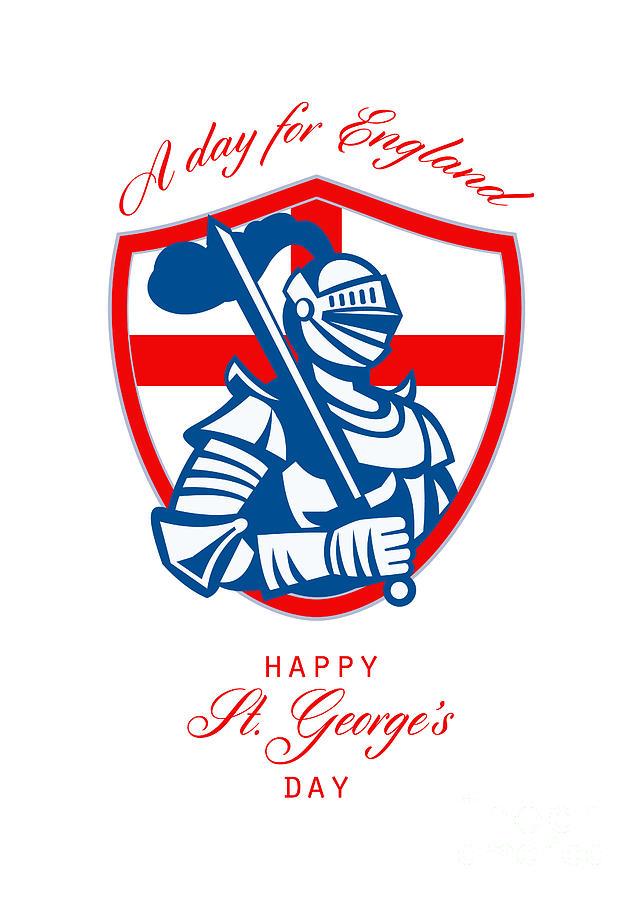 St George Digital Art - Happy St George A Day For England Greeting Card by Aloysius Patrimonio
