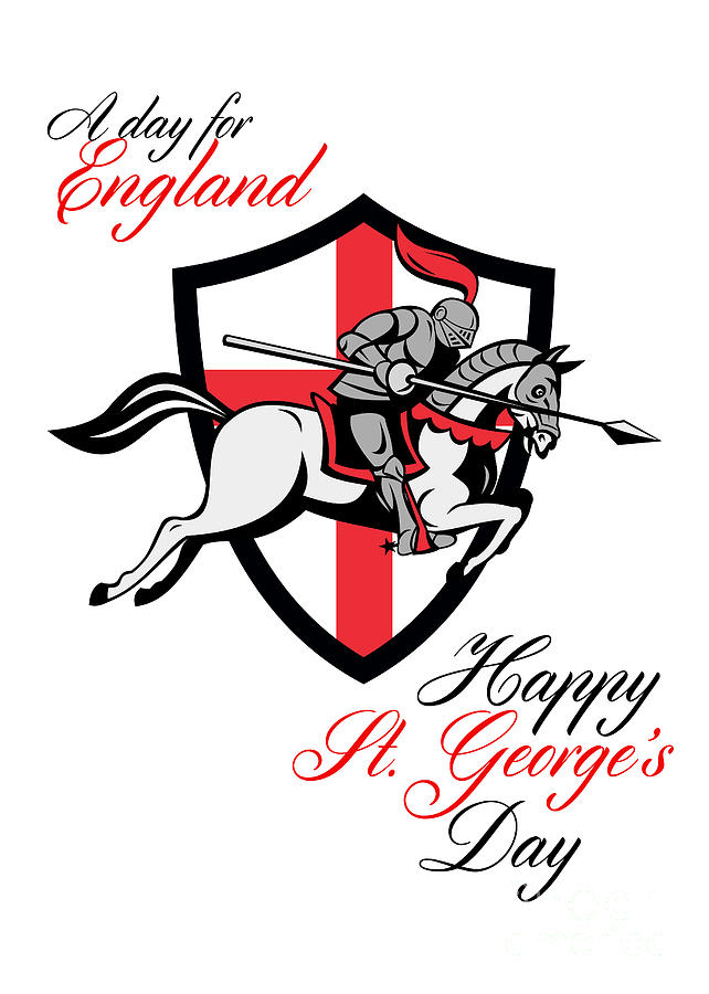 St George Digital Art - Happy St George Day A Day For England Retro Poster by Aloysius Patrimonio