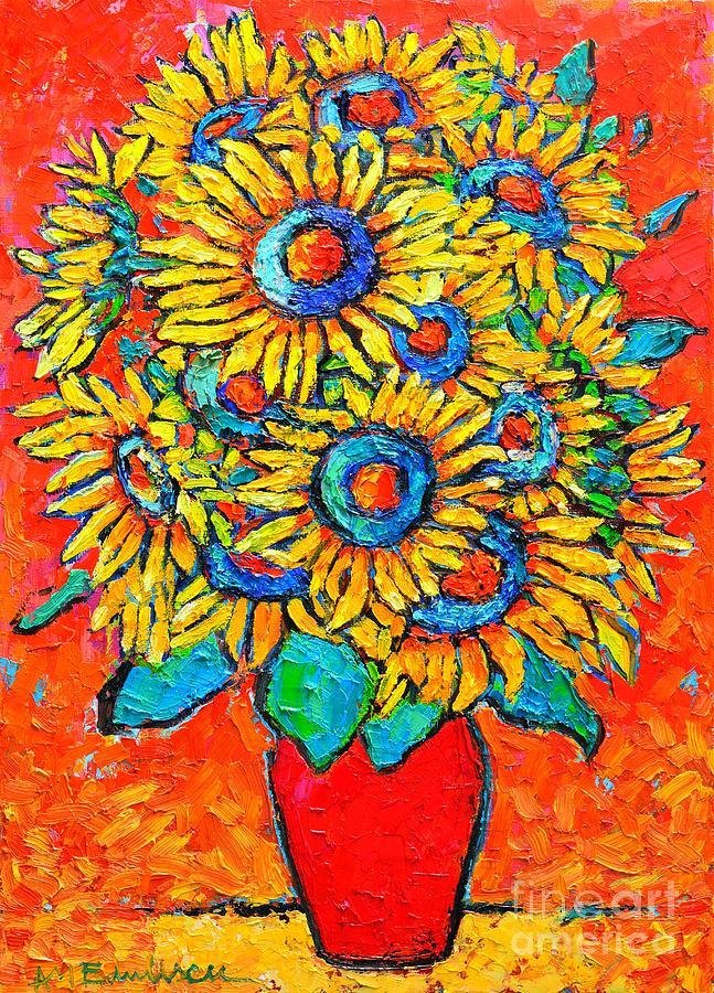 Sunflowers Painting - Happy Sunflowers by Ana Maria Edulescu
