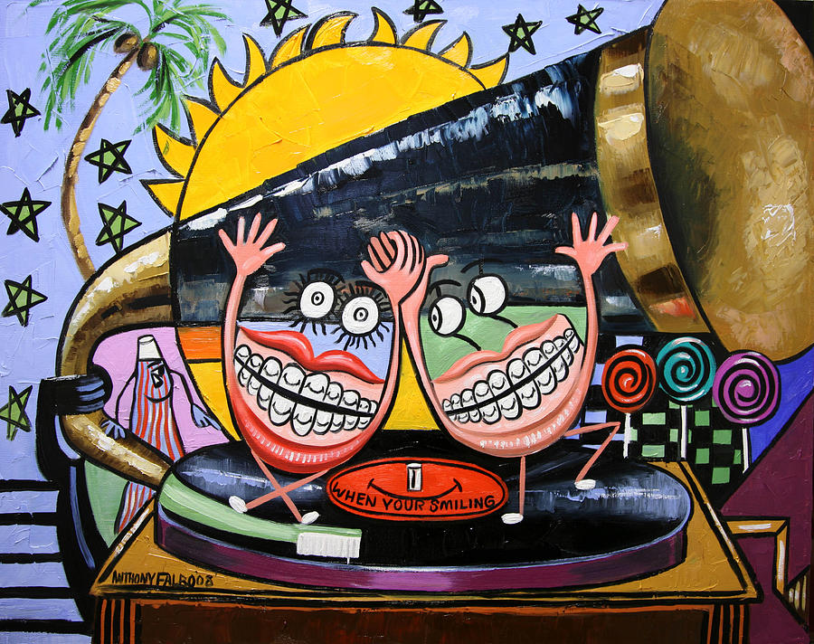 Happy Teeth Painting - Happy Teeth When Your Smiling by Anthony Falbo
