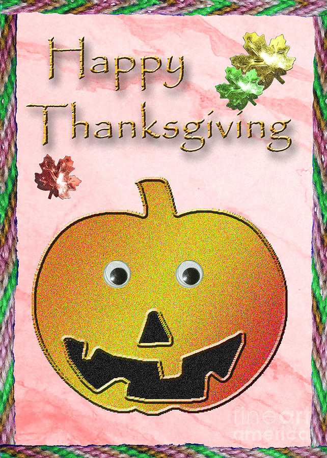 Happy Thanksgiving Digital Art - Happy Thanksgiving Pumpkin  by Jeanette K