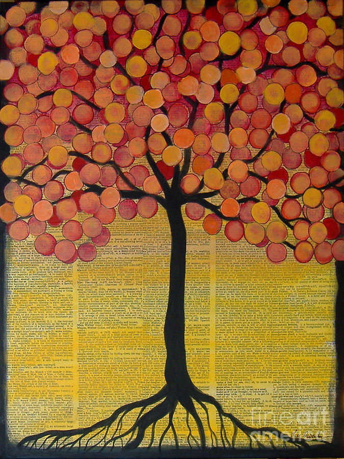 Happy Tree In Orange by Lee Owenby