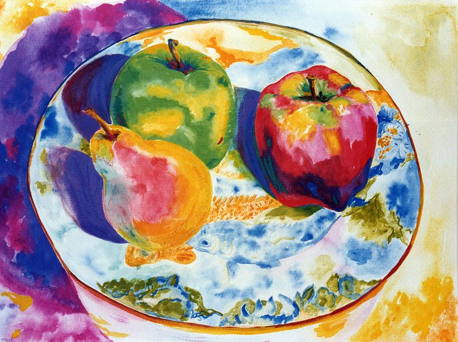 Fruit Painting - Happy Trio In Chinese Bowl by Lisa Boyd
