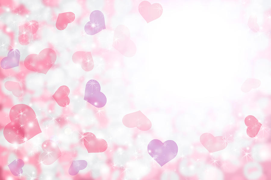 Happy Valentines Day Background Of Pastel Pink, Purple Hearts And Light. Drawing by Fstop123