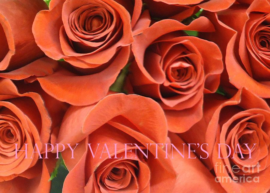 Happy Valentine S Day Pink Lettering On Orange Roses Photograph By