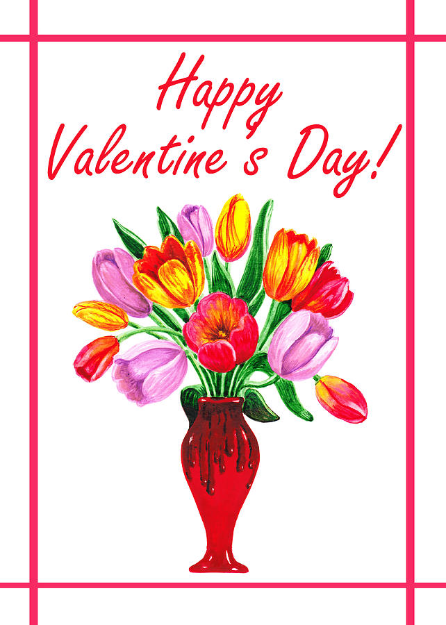 Tulips Painting - Happy Valentines Tulip Bouquet by Irina Sztukowski