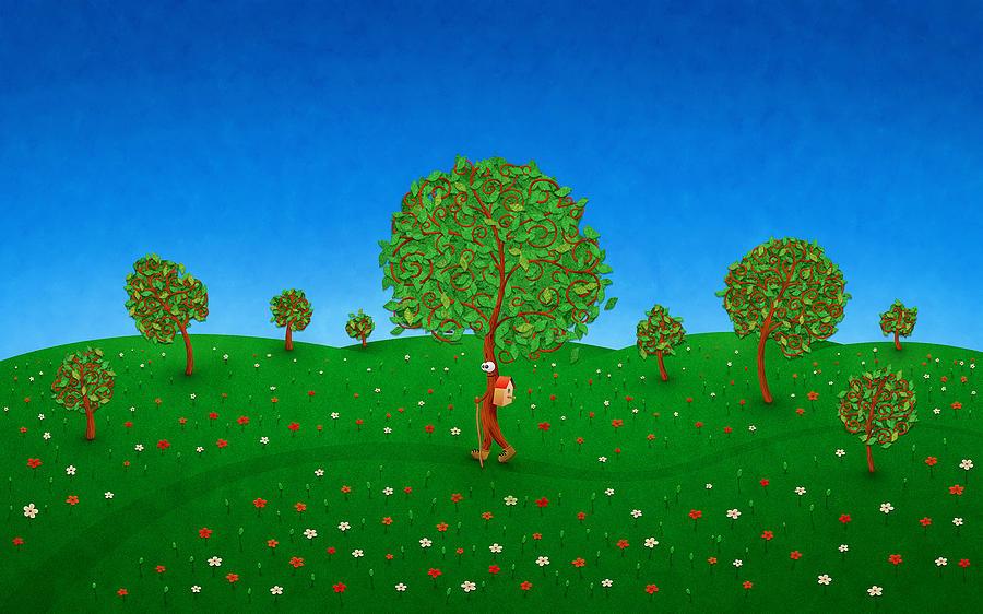 Abstract Digital Art - Happy Walking Tree by Gianfranco Weiss