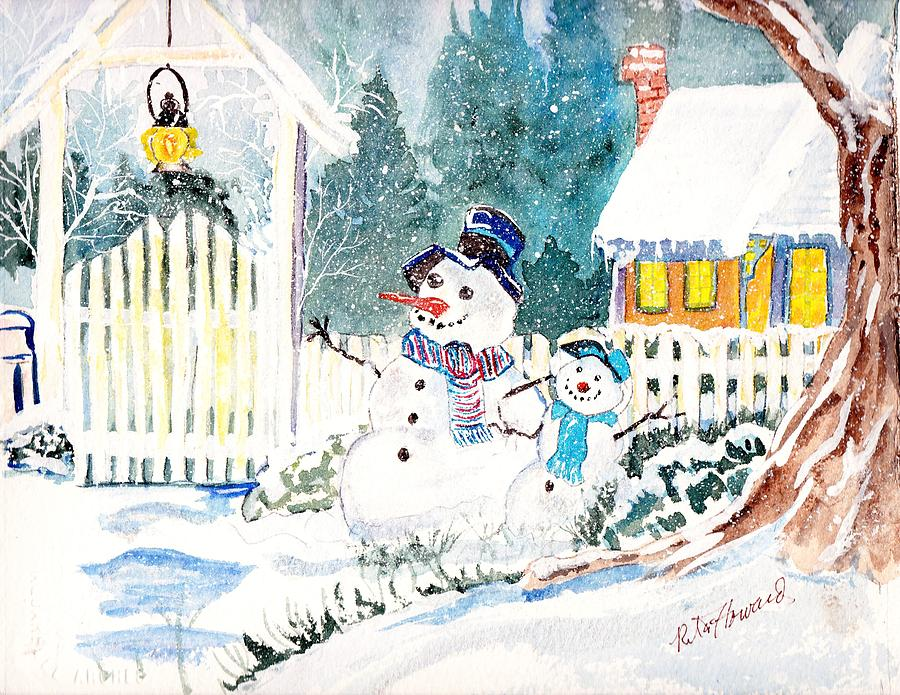 happy winters here painting by rita howard