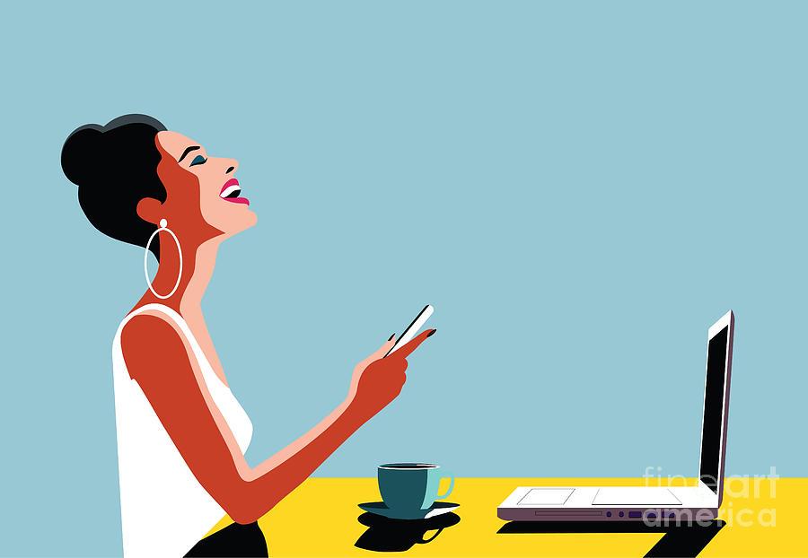 Smartphone Digital Art - Happy Young Beautiful Woman Using by Ralwel